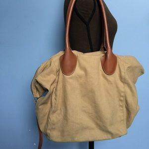 Linea Pelle Canvas Shopper Tote Bag